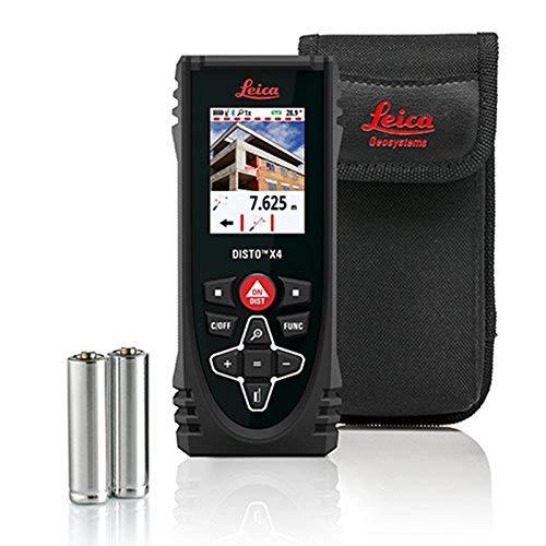 "Leica Disto X4 500' Laser Measure with Zip zip - 2 oz reel 36"" retractable badge retainer w/clip & caribiner"