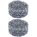 Diamante de Imitación Ribbon Rhinestone Ribbon Trim Sparking Diamond Mesh Wrap Roll Cintas de Cristal para Decoraciones de Eventos de Manualidades para Bodas 1 Yarda 15 mm Ancho Plata 2 Pcs
