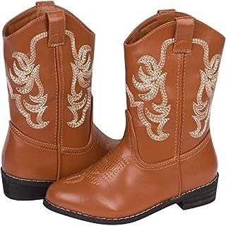 حذاء برقبة على شكل دب بري للأطفال رعاة البقر أحذية للفتيات والأولاد لركوب الخيل