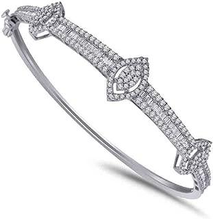 IGI-Certified 1.47 Ct Round & Baguette Shape Natural Diamond Bangle Bracelet In 14K Solid Gold