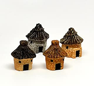 Pixie Glare Fairy Garden Miniature African Tribal Houses - 4 Pack
