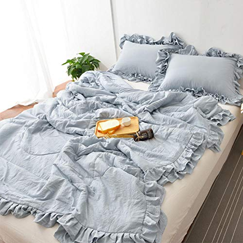 XNSY Anti Allergy Embroidered lace summer quilt thin gift pillowcase-180X200cm_gray