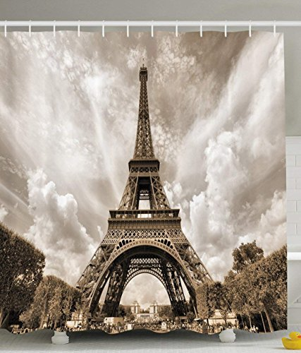 Ambesonne Paris Decorations Collection, Eiffel Tower UNESCO World...