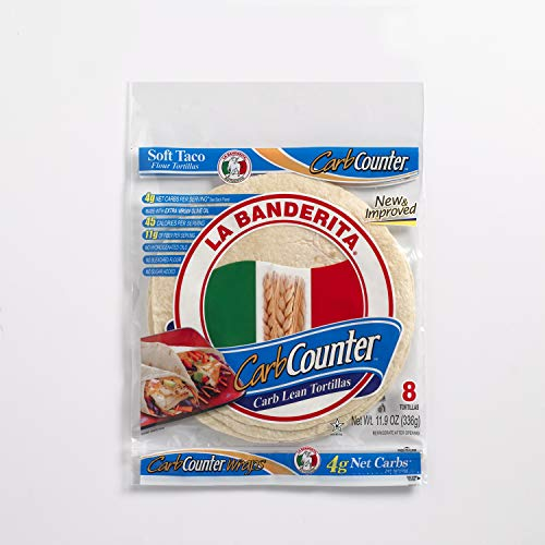 "La Banderita® Carb Counter Flour Tortillas | 8"" Size | 8 Count Each Pack | 4 Pack Case | *Taste the Tradition."