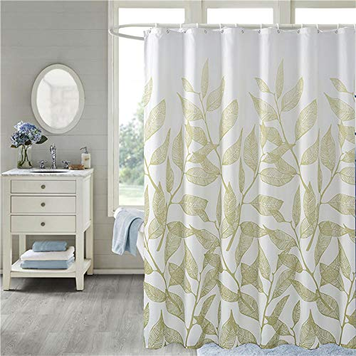 MYQIANG Blätter Duschvorhang aus Stoff Anti-Schimmel Wasserdicht 180x180cm Waschbar Textil Duschvorhang für Badewanne & Duschwanne mit 12 Duschvorhangringen Grün