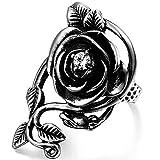 OIDEA Vintage Edelstahl Ringe, Rose Blume Rebe Ehering Damen Frauen Verlobungsring, schwarz Silber - Ringgrößen 54 (17.2)