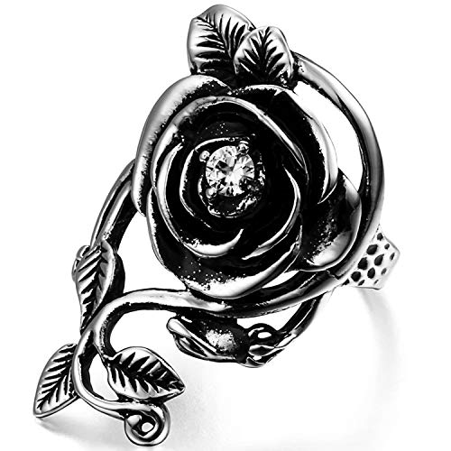 OIDEA Vintage Edelstahl Ringe, Rose Blume Rebe Ehering Damen Frauen Verlobungsring, schwarz Silber - Ringgrößen 62 (19.7)