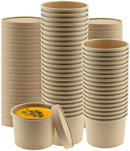 NYHI Kraft Paper Soup Storage Containers With Lids 8 Ounce Insulated Take Out Disposable Food product image