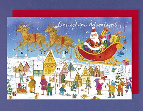 Adventskalender Karte Advent Grußkarte Winterdorf mit Rentierschlitten 16x11cm