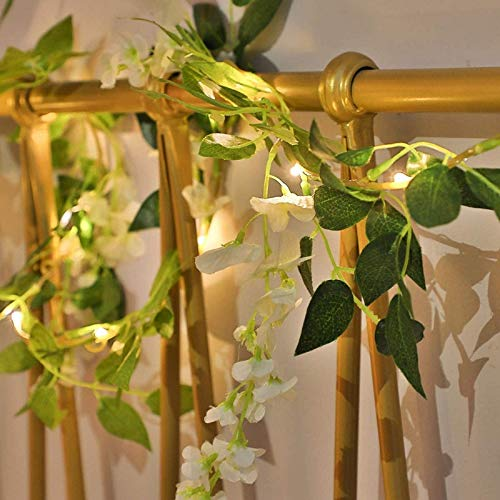 Artificial Wisteria Flower Garland Rattan String Lights 20 LED Fairy Vine Light Battery Powered Indoor Outdoor Decor Wreath Lamp(White Wisteria, 6.56FT/20LED)