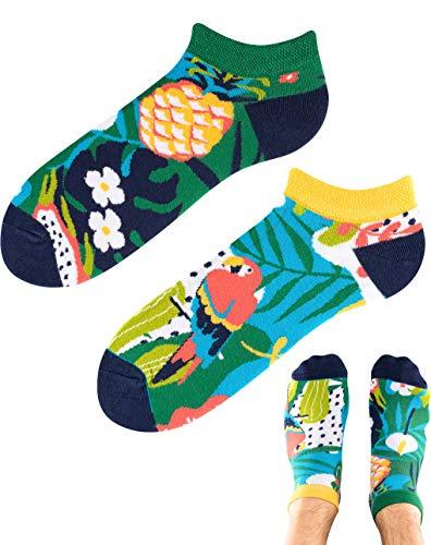 TODO Colours Motiv Sneaker-Socken Ananas Papagei LOW Lustige Papageien socken Damen und Herren, mehrfarbige, verrückte, bunte Knöchelsocken (Ananas Papagei Low, 39-42)
