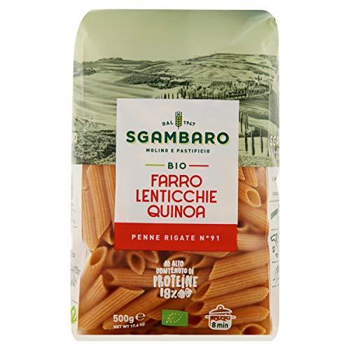 Sgambaro Pasta - Penne Rigate - Farro, Lenticchie, Quinoa Bio, Grano, 500 Grammo