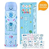 Pakoo Decorate Your Own Water Bottle for Girls with Tons of Rhinestone Gem Stickers - 17 OZ BPA Free Stainless Steel Vacuum Insulated Kids Water Bottles - Fun DIY Art Set & Craft Kit Gift for Girls
