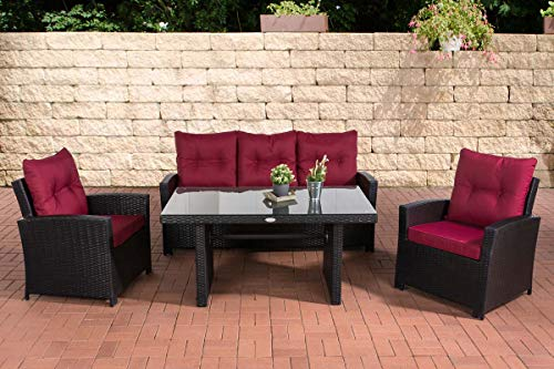 CLP - Set di mobili da giardino in polyrattan, completamente assemblato, divano a 3 posti, 2 poltrone + tavolo da pranzo 140 x 80 cm, con cuscini, struttura in alluminio