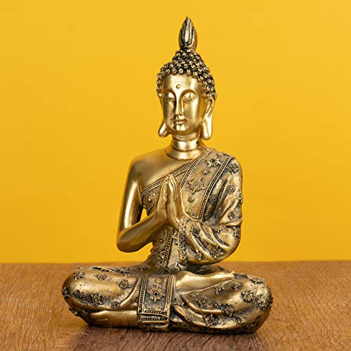 SOPRETY Figura de Buda sentado, 20 cm de altura, de polirresina, escultura de Buda de meditación en asiento de loto, accesorio para salón, dormitorio, baño, oficina, jardín zen