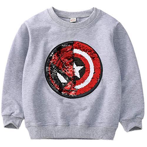 Superhelden-Sweatshirt für Jungen und Mädchen, mit Pailletten, lange Ärmel, Baumwolle, 3–8 Jahre Gr. 120 cm, C