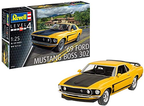 Revell 07025Maquette de Voiture à Construire Boss 302 Mustang, échelle 1/25, Jaune