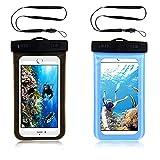 Funda Impermeable Móvil Universal,Funda Protectora de Agua móvil para Nadar, bañarse y cocinar,Bolsa para móvil estanca a Prueba de Agua IPX8 para iPhone HUAWEI Xiaomi Samsung-2 Unidades