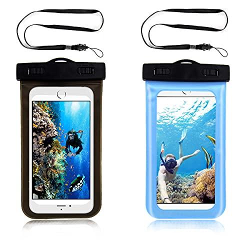 Funda impermeable para teléfono móvil, resistente al agua, para vacaciones, natación, para smartphones, Samsung, Google, Sony, One Plus, 2 unidades, color negro y azul