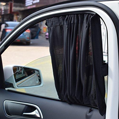 Hpybest 2 x 50S Aluminium Krimpbaar Raamschaduw Gordijn Auto Zijvenster Zonneschermen Auto Achterste Voorruit Zonneblok Zwart