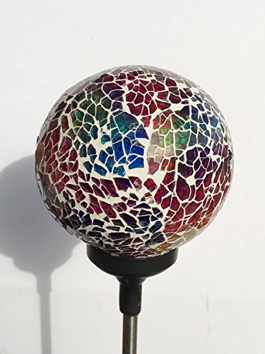 Colorful Ball Solar Lights (#Whitem003R), Solar Power Multi-Color Color Changing LED Mosaic Crackle Glass Ball Decorative Garden Yard Light Stake Lamp