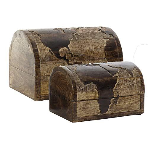 Set met 2 opbergdozen van natuurlijk hout, kist met wereldkaart, vintage en origineel, 23 x 15 x 15 cm huis en meer