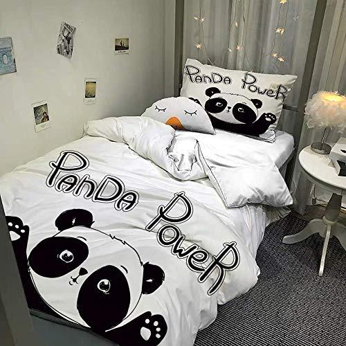 MUSOLEI Panda - Juego de ropa de cama individual para niñas, funda de edredón y funda de almohada para niños, con cremallera, bonita funda de cama 3D, regalo para niños (Panda Power, individua