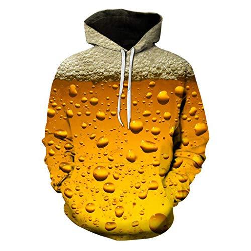 HROIJSL Herren 3D-Druck Cheers Beer Print Hoodie für Herrenmode Neue Bluse mit Kapuze und Langen Ärmeln Kaputzen Sweater Freizeit Lose Kapuzenpullover Pullover Sweatjacke Kapuzenjacke