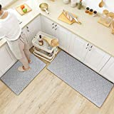 CRZDEAL Anti Fatigue Kitchen Mats 2 Pcs(17.1'x 29.9'+17.1'x 47.2') Thick PVC Non-Slip Waterproof Long Cushion Floor Comfort Mats for Kitchen, Bathroom, Laundry, Sink or Office