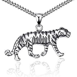 MATERIA Herren Kettenanhänger Tiger aus 925 Sterling Silber geschwärzt mit Halskette in Etui KA-57-K27-55 cm