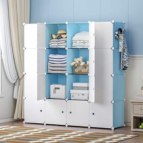 GEORGE&DANIS Kids Shelf Portable Closet Wardrobe Storage Plastic Dresser Armoire Cube Organizer for Kids Teenagers, Blue, 14 inches Depth, 4x4 Tiers