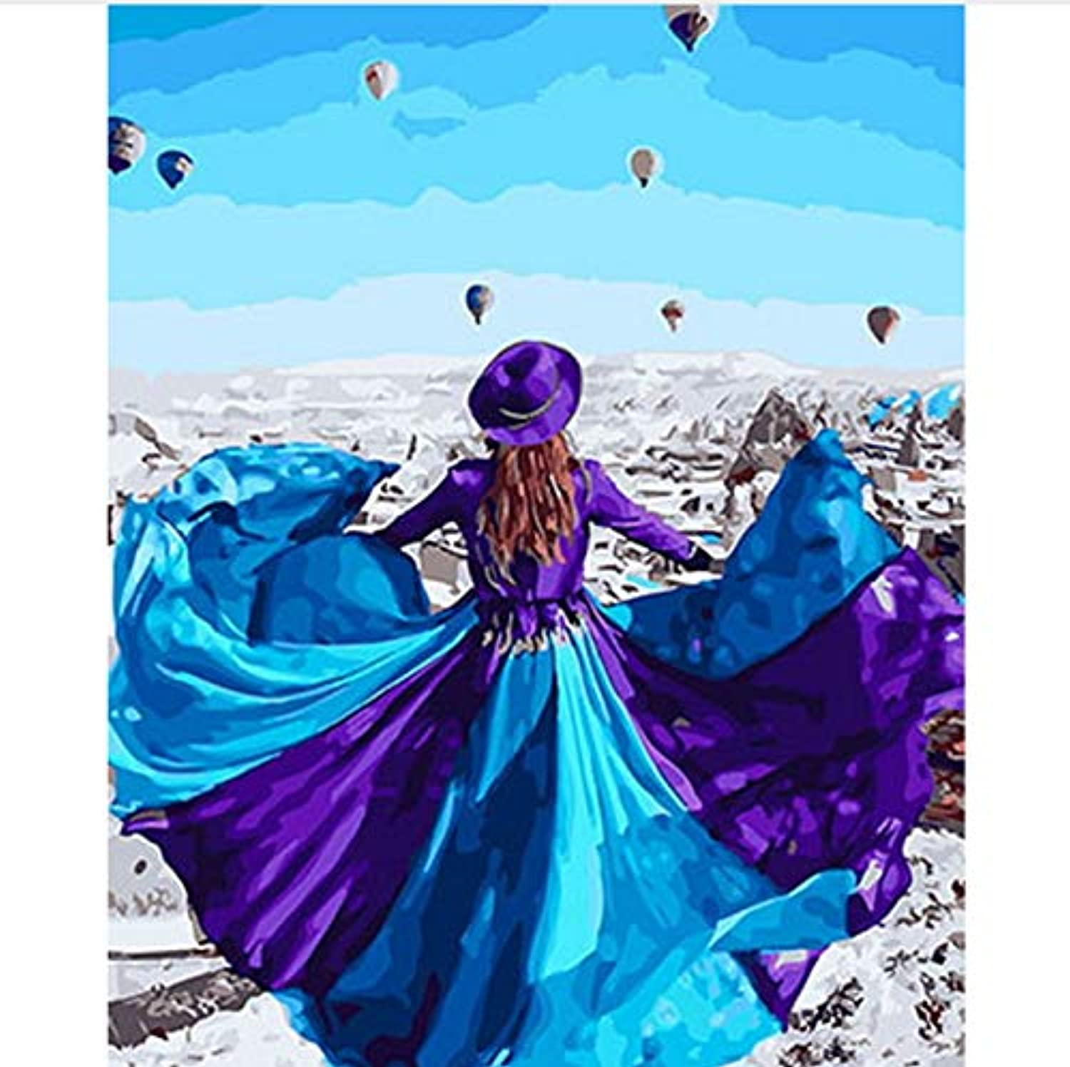 CAYYOU DIY painting by numbers picture oil painting on canvas for home decor animal painting dress flying, Framed, 50x60cm