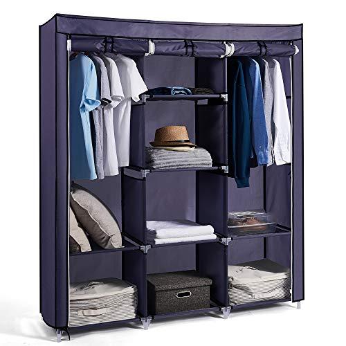 Hododou Portable Wardrobe Large Fabric Wardrobe Storage Organizer with Hanging Rail Shelving Foldable Closet Clothes Storage Cupboard Unit Living Room, Bedroom 175 x 150 x 45CM