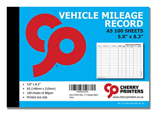 Cherry Vehicle Mileage Log Book A5 (5.8 x 8.3 Inches) 100 pages, Fits the Glove Box, 1800 Records Per Book