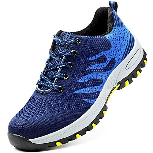 Mitudidi Arbeitsschuhe Herren S3 Leicht Blau 43 mit Stahlkappe Sommer Arbeit Schuhe Männer Sicherheit Sneaker Turnschuhe Sportlich Schutzschuhe für Kinder Jungen
