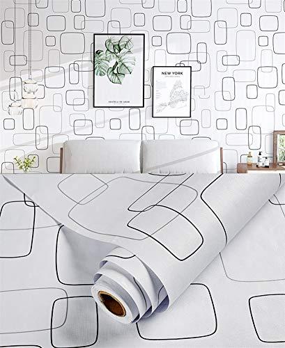 Liveinu Adhesivo decorativo para armarios de cocina, de PVC, autoadhesivo, para muebles, resistente al agua, para armarios, muebles, lámina autoadhesiva geométrica, blanco, 60 x 500 cm