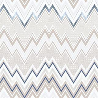 G56336 - Tempo Waves/Zig-Zag Beige & Blue Galerie Wallpaper