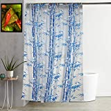 Kuber Industries Bamboo Design PVC Shower Curtain with Hooks - 54'x84', Blue