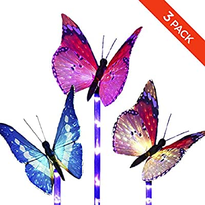 Solar Butterfly Lights Outdoor Garden - Waterproof Light Sensor Wireless Purple LED Stake Fiber Optic Decorative Multi-Color Changing Lighting Yard Pathway Patio Lawn Walkway Landscape by MILKYCREW