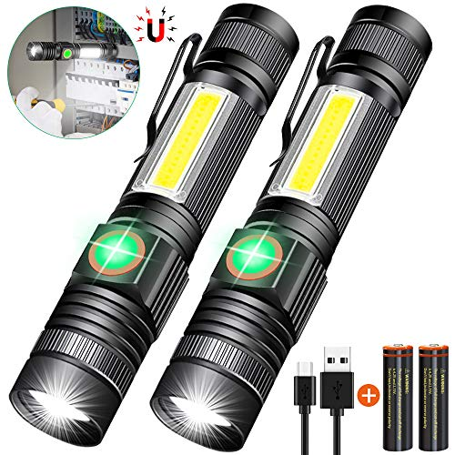 Rechargeable Flashlight(Battery Included), Tactical Flashlight Magnetic, Pocket-Size Flashlight with COB Sidelight, Waterproof,Zoomable,4 Mode Best LED Flashlight for Camping,Emergency Use