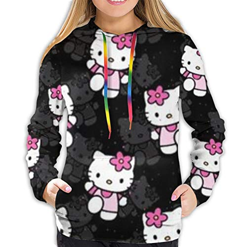 fenrris65 Hello Kitty Women 3D Realistic Digital Print Pullover Hoodie Hooded Sweatshirt M