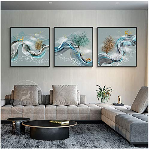 NOBRAND Lucky Deer con Ribbon In The Sky Painting Wall Pictures para la Sala de Estar Dormitorio Modern Art Poster Pictures Home Deco60x60cm Sin Marco