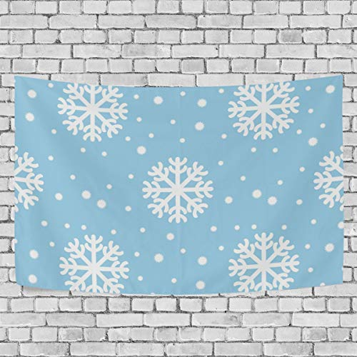 JSTEL Wandteppich Schneeflocken Weihnachten & Neujahr Wandbehang Dekoration für Wohnung Wohndeko Wohnzimmer Tisch Überwurf Tagesdecke Schlafsaal 100 x 150 cm, Multi, 100 x 150 cm
