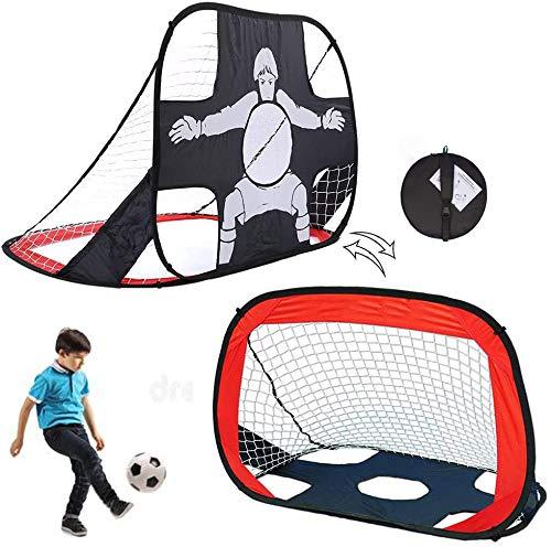 Wuuudi Portería de fútbol para niños, 2 unidades, plegable, 2 en 1, portería de fútbol para interior, exterior, jardín (110 x 80 cm)