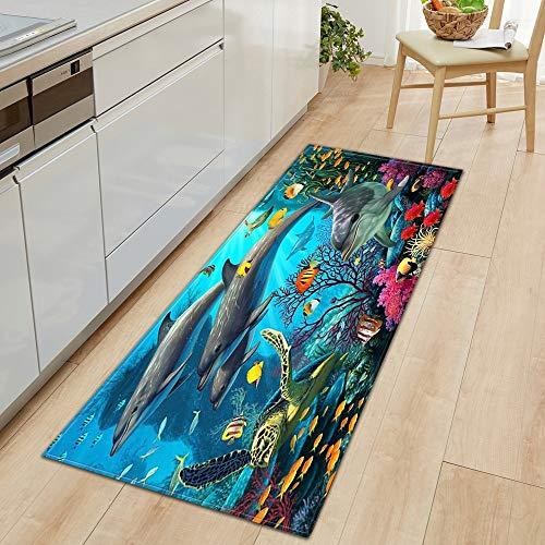OPLJ 3D Underwater World Küchenmatte Eingang Fußmatte Schlafzimmer Bodendekoration Wohnzimmer Teppich rutschfeste Fußmatte A8 40x120cm