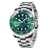 LIGE Relojes Hombre Cronografo Vintage Minimalista Impermeable Acero Inoxidable Verde Cuarzo Relojes de Pulsera