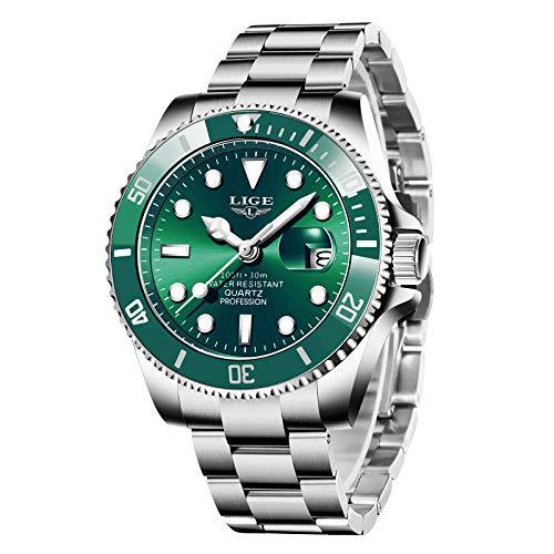 LIGE Uhren Herren Mode Wasserdicht Edelstahlarmband Analog Quarzuhr Business Classic Armbanduhren für Herren