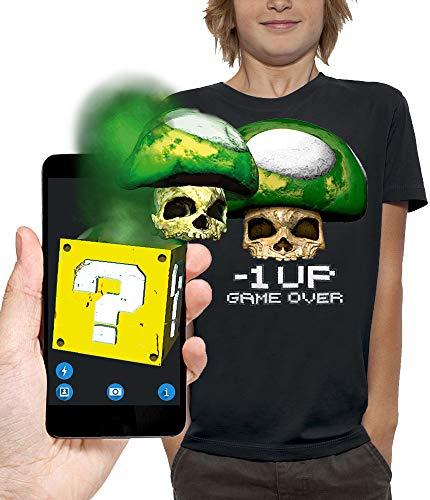 PIXEL EVOLUTION Camiseta 3D Seta Toad One UP en Realidad Aumentada Niño - tamaño 5/6 años - Negro