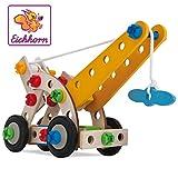 Eichhorn - 100039022 - Jeu de Construction Bois - Grue Mobile 4 en 1 - 70 Pièces Bois
