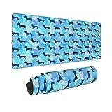 Alfombrilla de ratón con diseño de Perro Salchicha de Acuarela con Purpurina Azul, Alfombrilla de Escritorio para Teclado de Ordenador, Alfombrilla de ratón con Base de Goma Antideslizante 30X80CM